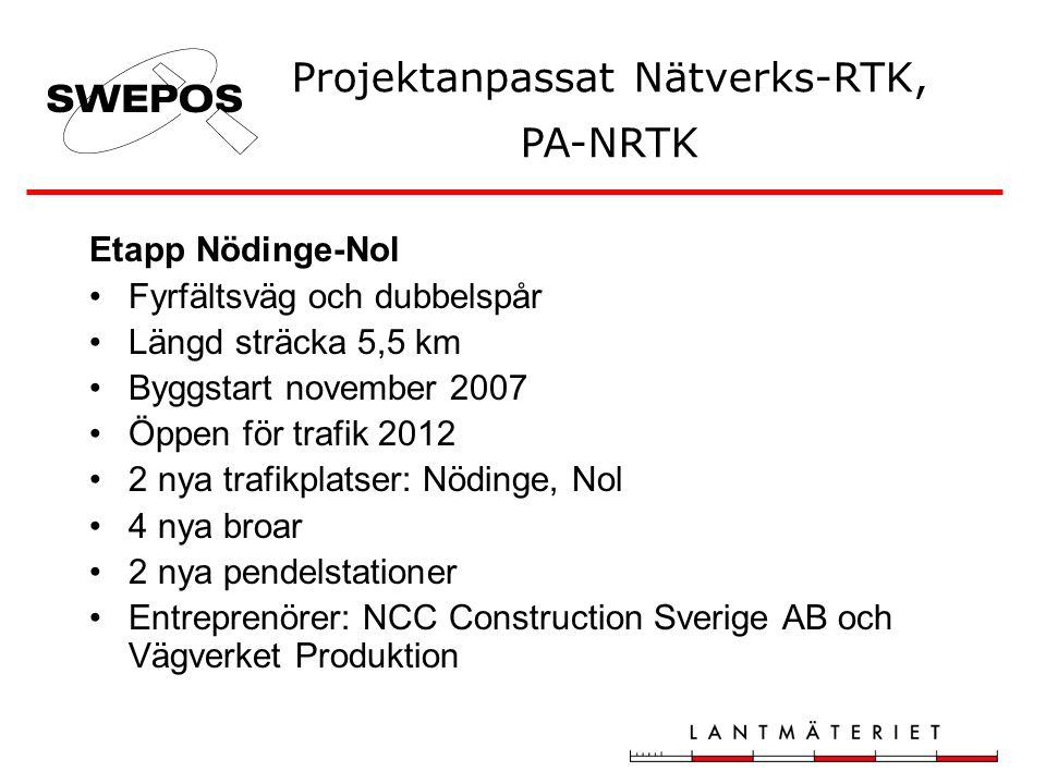 Etapp Nödinge-Nol •Fyrfältsväg och dubbelspår •Längd sträcka 5,5 km •Byggstart november 2007 •Öppen för trafik 2012 •2 nya trafikplatser: Nödinge, Nol •4 nya broar •2 nya pendelstationer •Entreprenörer: NCC Construction Sverige AB och Vägverket Produktion Projektanpassat Nätverks-RTK, PA-NRTK