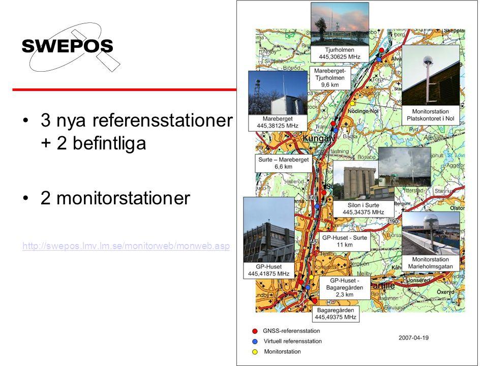 •3 nya referensstationer + 2 befintliga •2 monitorstationer http://swepos.lmv.lm.se/monitorweb/monweb.asp