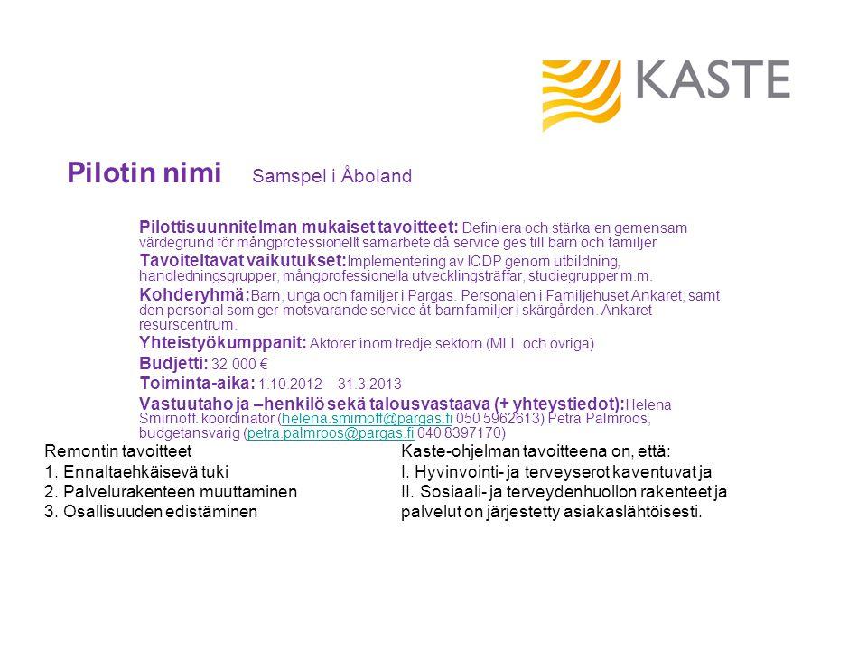 Pilotin nimi Samspel i Åboland Pilottisuunnitelman mukaiset tavoitteet: Definiera och stärka en gemensam värdegrund för mångprofessionellt samarbete d