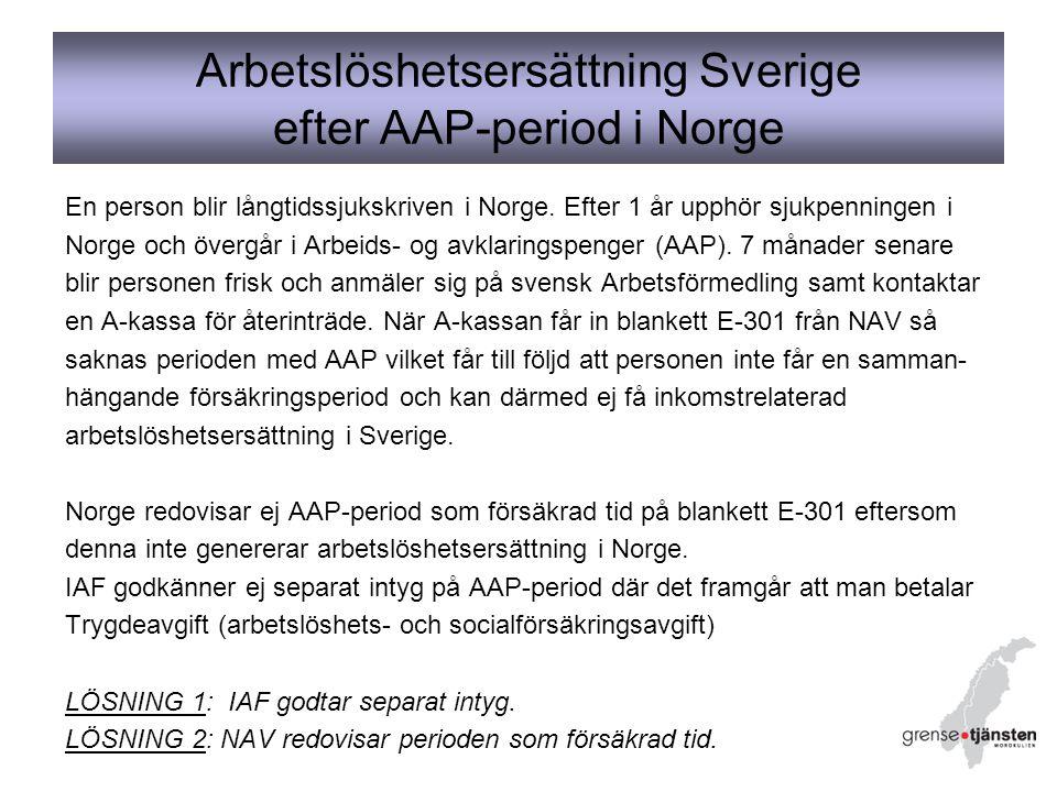 Arbetslöshetsersättning Sverige efter AAP-period i Norge En person blir långtidssjukskriven i Norge.
