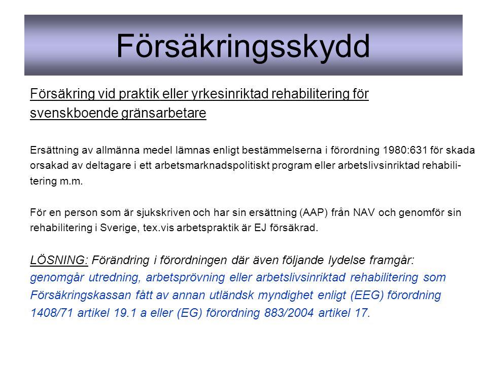 Försäkringsskydd Försäkring vid praktik eller yrkesinriktad rehabilitering för svenskboende gränsarbetare Ersättning av allmänna medel lämnas enligt bestämmelserna i förordning 1980:631 för skada orsakad av deltagare i ett arbetsmarknadspolitiskt program eller arbetslivsinriktad rehabili- tering m.m.