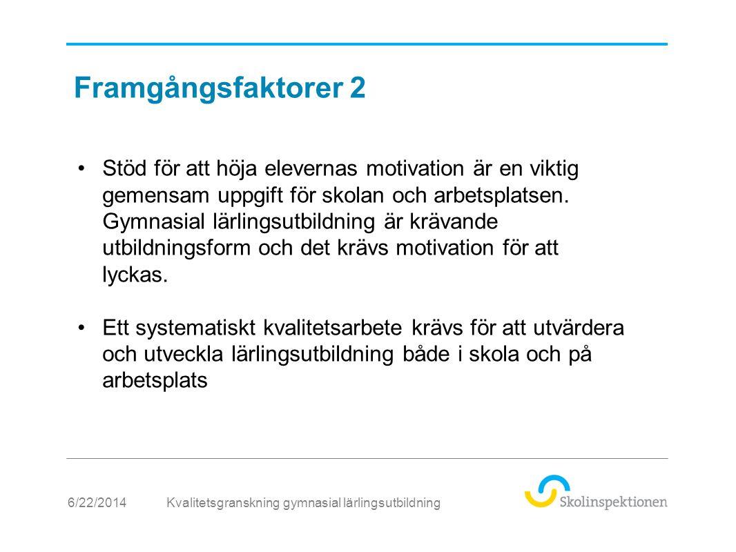 6/22/2014 •Stöd för att höja elevernas motivation är en viktig gemensam uppgift för skolan och arbetsplatsen.
