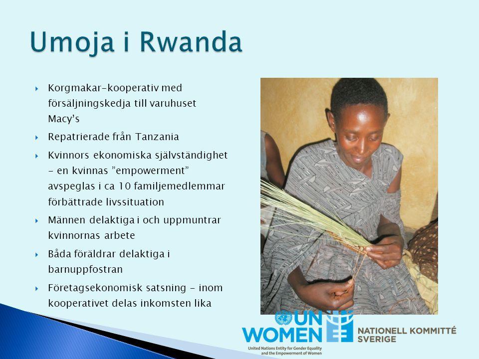  Korgmakar-kooperativ med försäljningskedja till varuhuset Macy's  Repatrierade från Tanzania  Kvinnors ekonomiska självständighet - en kvinnas empowerment avspeglas i ca 10 familjemedlemmar förbättrade livssituation  Männen delaktiga i och uppmuntrar kvinnornas arbete  Båda föräldrar delaktiga i barnuppfostran  Företagsekonomisk satsning - inom kooperativet delas inkomsten lika