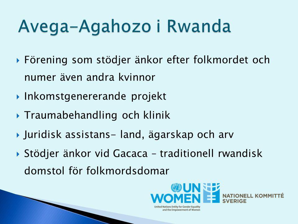  Förening som stödjer änkor efter folkmordet och numer även andra kvinnor  Inkomstgenererande projekt  Traumabehandling och klinik  Juridisk assistans- land, ägarskap och arv  Stödjer änkor vid Gacaca – traditionell rwandisk domstol för folkmordsdomar
