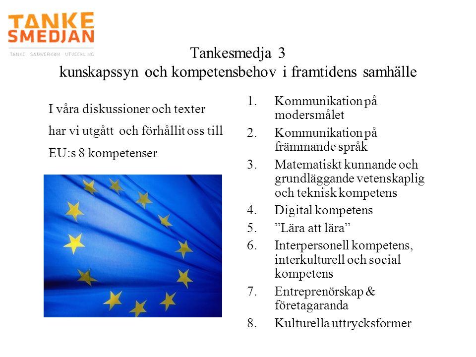 Tankesmedja 3 kunskapssyn och kompetensbehov i framtidens samhälle 1.Kommunikation på modersmålet 2.Kommunikation på främmande språk 3.Matematiskt kun