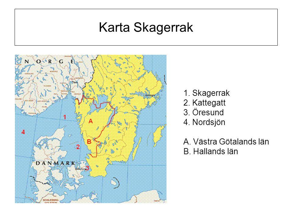 Karta Skagerrak 1. Skagerrak 2. Kattegatt 3. Öresund 4. Nordsjön A. Västra Götalands län B. Hallands län