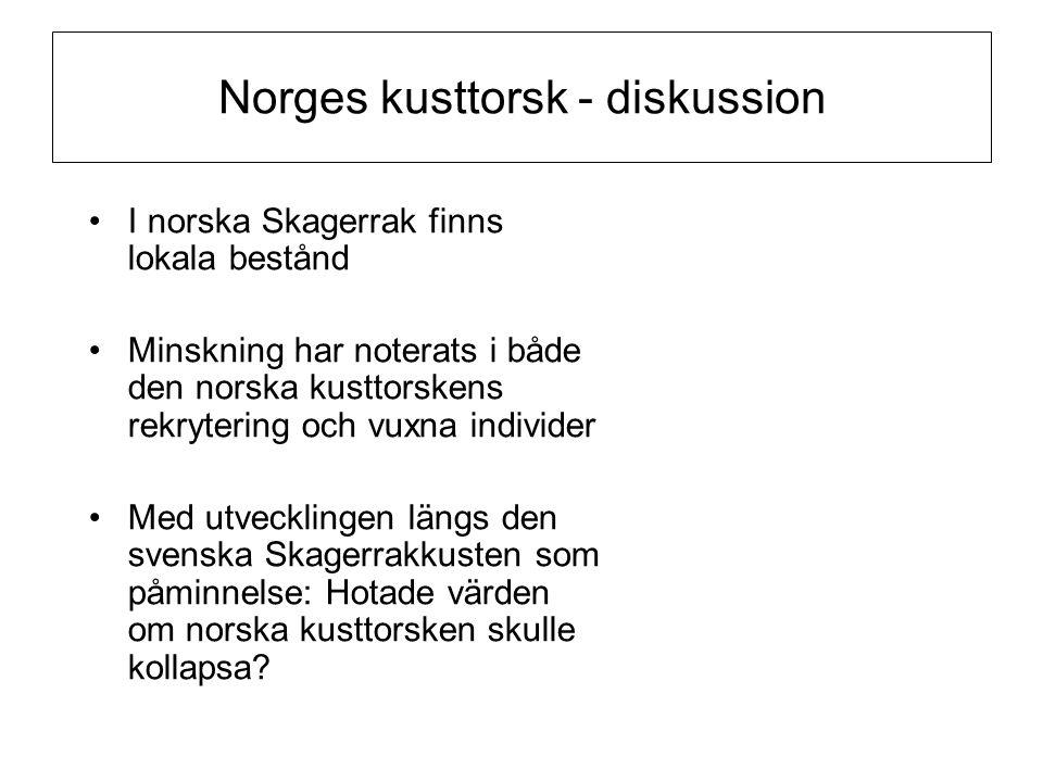 Norges kusttorsk - diskussion •I norska Skagerrak finns lokala bestånd •Minskning har noterats i både den norska kusttorskens rekrytering och vuxna in