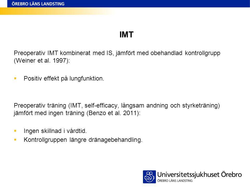 IMT Preoperativ IMT kombinerat med IS, jämfört med obehandlad kontrollgrupp (Weiner et al. 1997):  Positiv effekt på lungfunktion. Preoperativ tränin