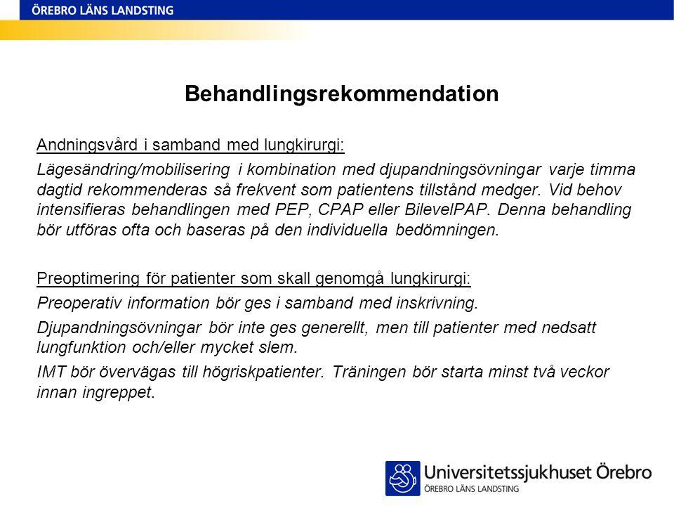 Behandlingsrekommendation Andningsvård i samband med lungkirurgi: Lägesändring/mobilisering i kombination med djupandningsövningar varje timma dagtid
