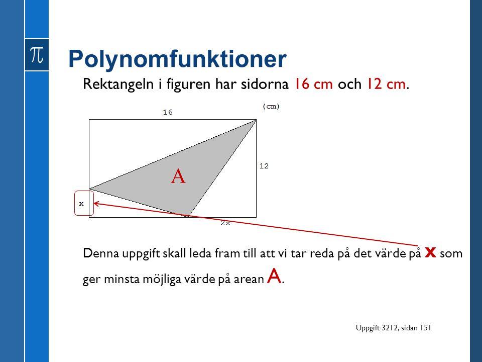 Rektangeln i figuren har sidorna 16 cm och 12 cm. A Denna uppgift skall leda fram till att vi tar reda på det värde på x som ger minsta möjliga värde
