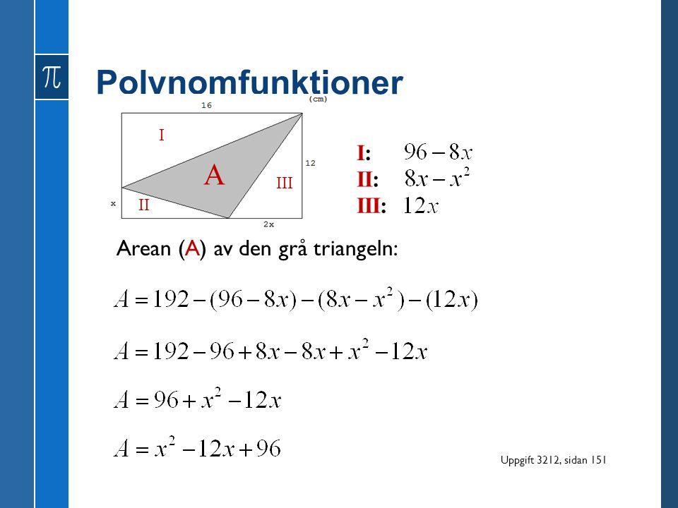 Polynomfunktioner Arean (A) av den grå triangeln: I II III I:I: II: III: A Uppgift 3212, sidan 151