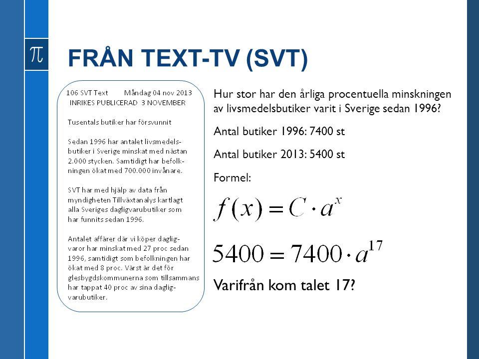 FRÅN TEXT-TV (SVT) Hur stor har den årliga procentuella minskningen av livsmedelsbutiker varit i Sverige sedan 1996? Antal butiker 1996: 7400 st Antal