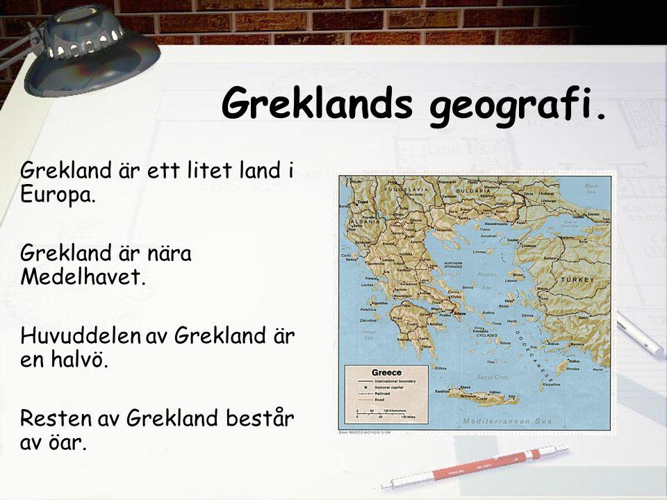 Stadsstater Eftersom Grekland består av många öar och har många höga berg, började grekerna bygga stadsstater i stället för ett land.