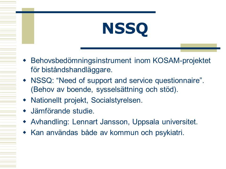 """NSSQ  Behovsbedömningsinstrument inom KOSAM-projektet för biståndshandläggare.  NSSQ: """"Need of support and service questionnaire"""". (Behov av boende,"""