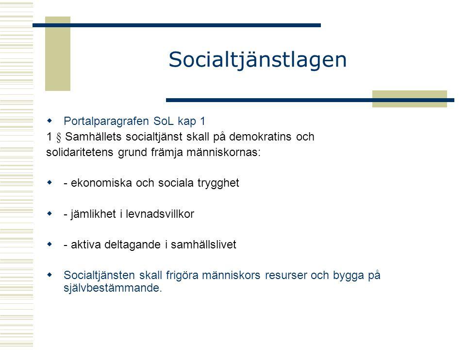 Socialtjänstlagen  Portalparagrafen SoL kap 1 1 § Samhällets socialtjänst skall på demokratins och solidaritetens grund främja människornas:  - ekon