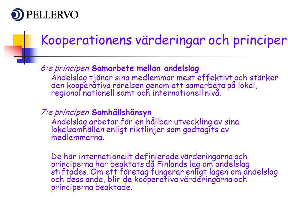 6:e principen Samarbete mellan andelslag Andelslag tjänar sina medlemmar mest effektivt och stärker den kooperativa rörelsen genom att samarbeta på lo