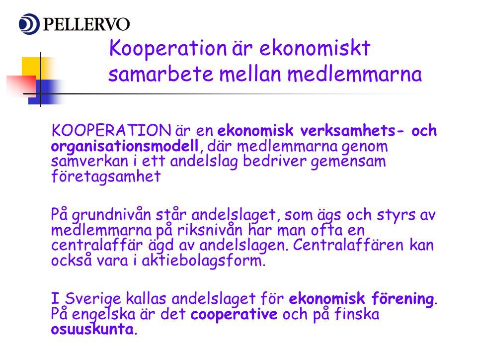 Kooperation är ekonomiskt samarbete mellan medlemmarna KOOPERATION är en ekonomisk verksamhets- och organisationsmodell, där medlemmarna genom samverk