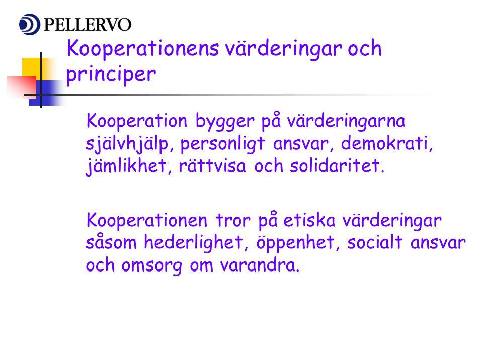 Kooperationens värderingar och principer Kooperation bygger på värderingarna självhjälp, personligt ansvar, demokrati, jämlikhet, rättvisa och solidar
