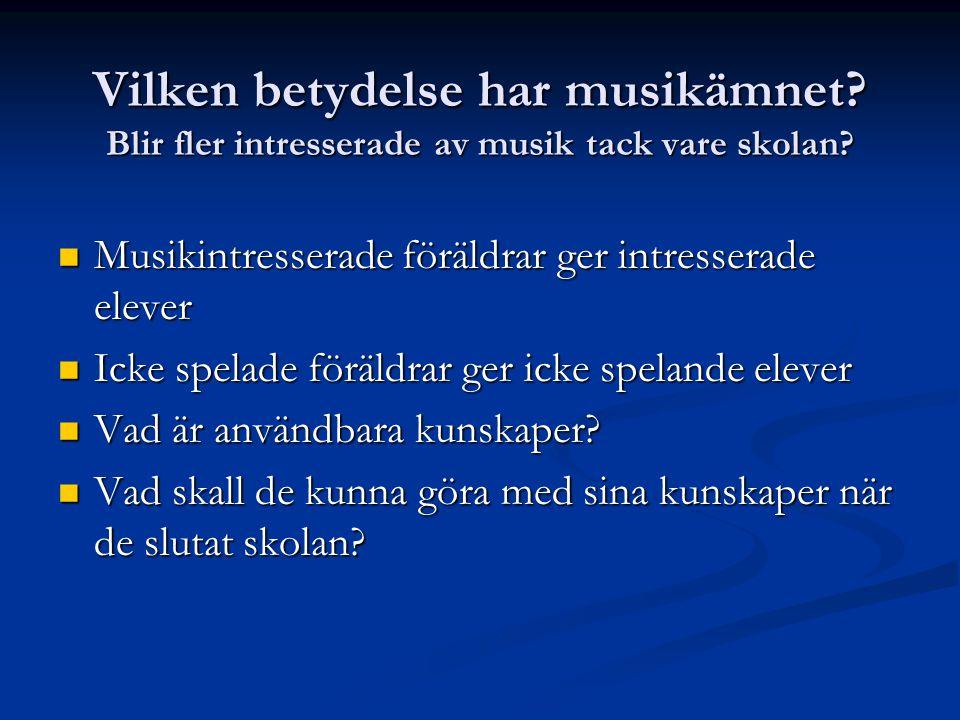 Vilken betydelse har musikämnet? Blir fler intresserade av musik tack vare skolan?  Musikintresserade föräldrar ger intresserade elever  Icke spelad