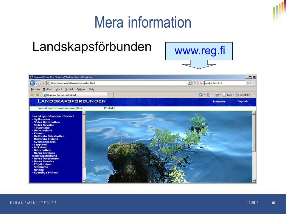 1.1.2011 15 Mera information www.reg.fi Landskapsförbunden