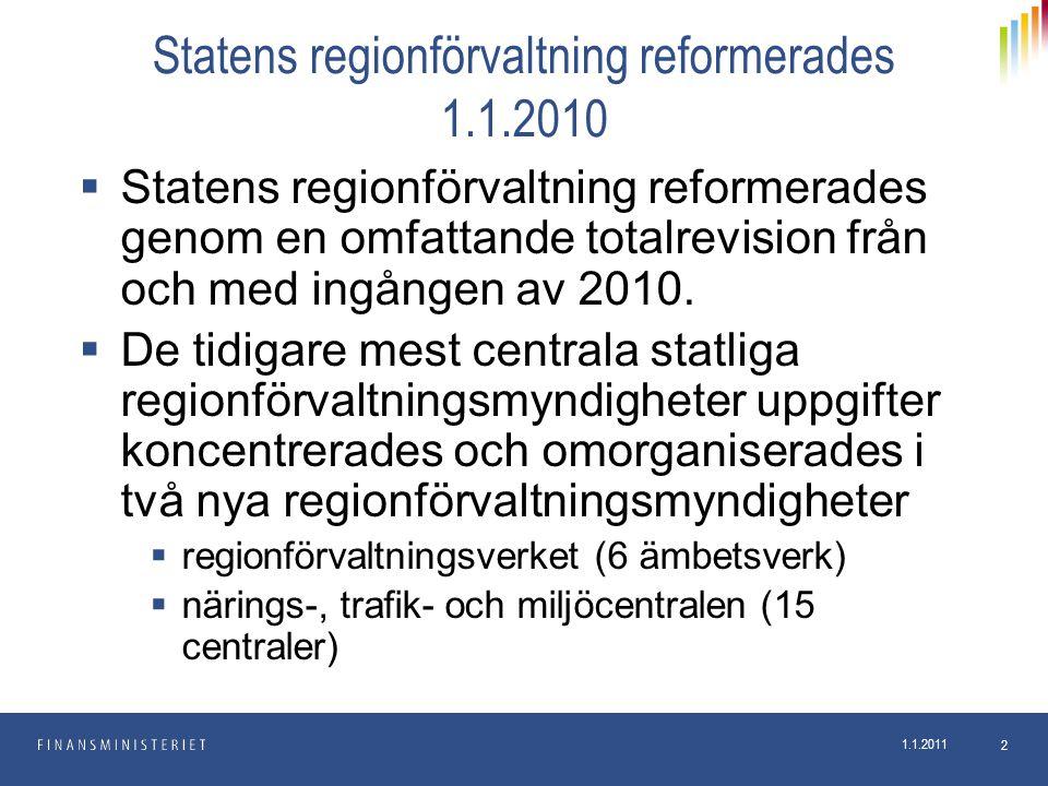 1.1.2011 2 Statens regionförvaltning reformerades 1.1.2010  Statens regionförvaltning reformerades genom en omfattande totalrevision från och med ing
