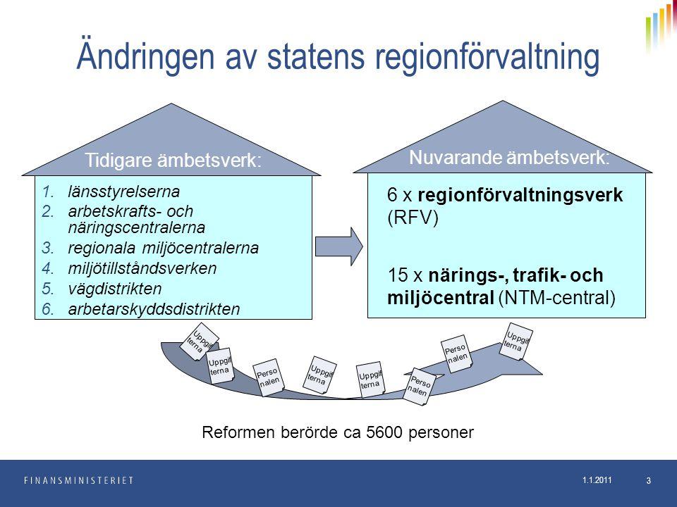 1.1.2011 3 Ändringen av statens regionförvaltning 1.länsstyrelserna 2.arbetskrafts- och näringscentralerna 3.regionala miljöcentralerna 4.miljötillstå