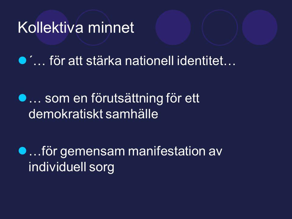 Kollektiva minnet  ´… för att stärka nationell identitet…  … som en förutsättning för ett demokratiskt samhälle  …för gemensam manifestation av individuell sorg