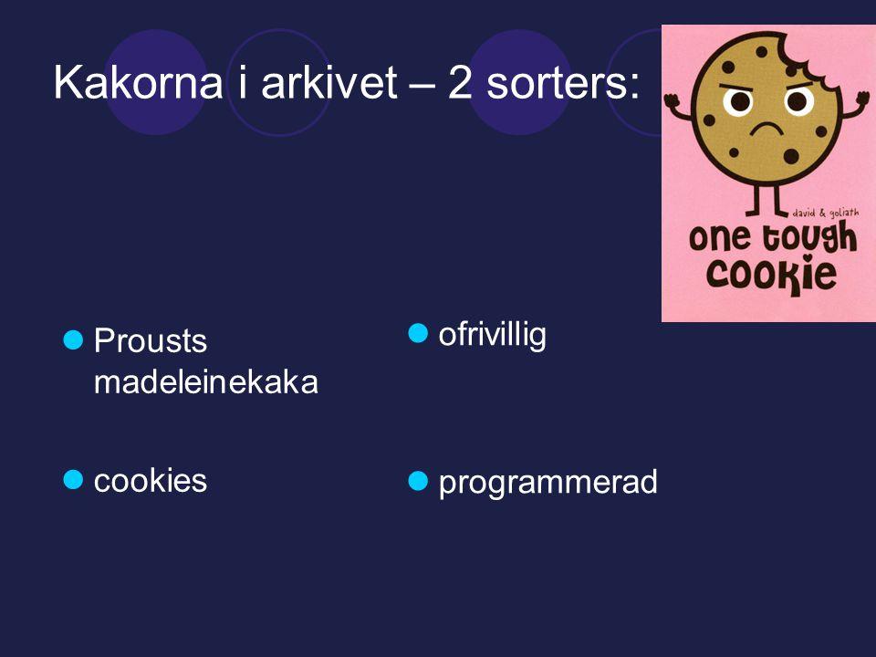 Kakorna i arkivet – 2 sorters:  Prousts madeleinekaka  cookies  ofrivillig  programmerad