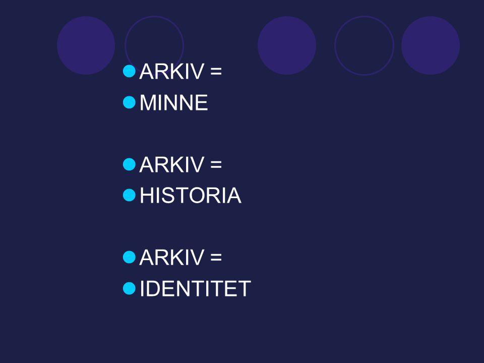  ARKIV =  MINNE  ARKIV =  HISTORIA  ARKIV =  IDENTITET
