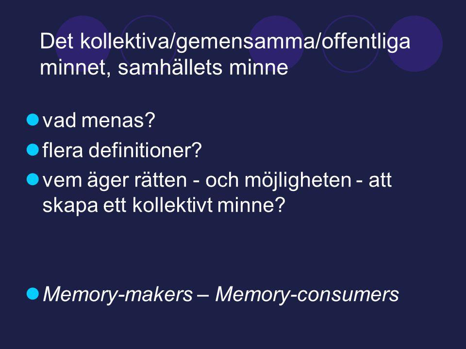 Det kollektiva/gemensamma/offentliga minnet, samhällets minne  vad menas.