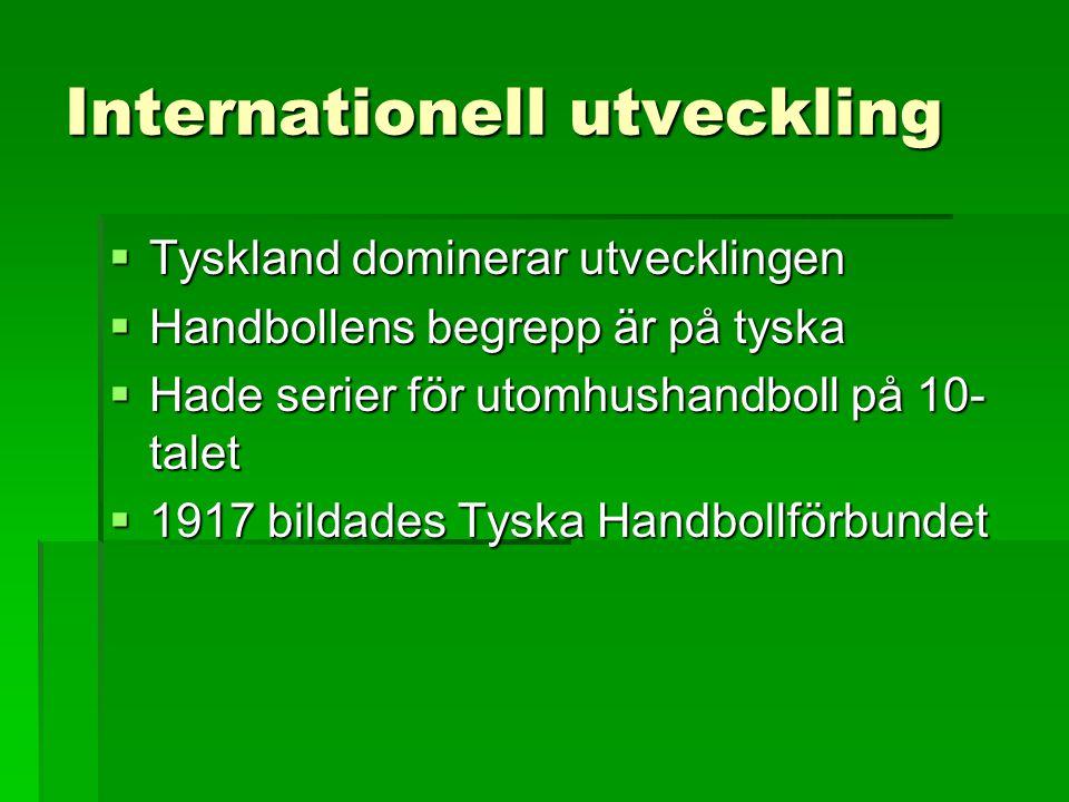 Internationell utveckling  Tyskland dominerar utvecklingen  Handbollens begrepp är på tyska  Hade serier för utomhushandboll på 10- talet  1917 bi