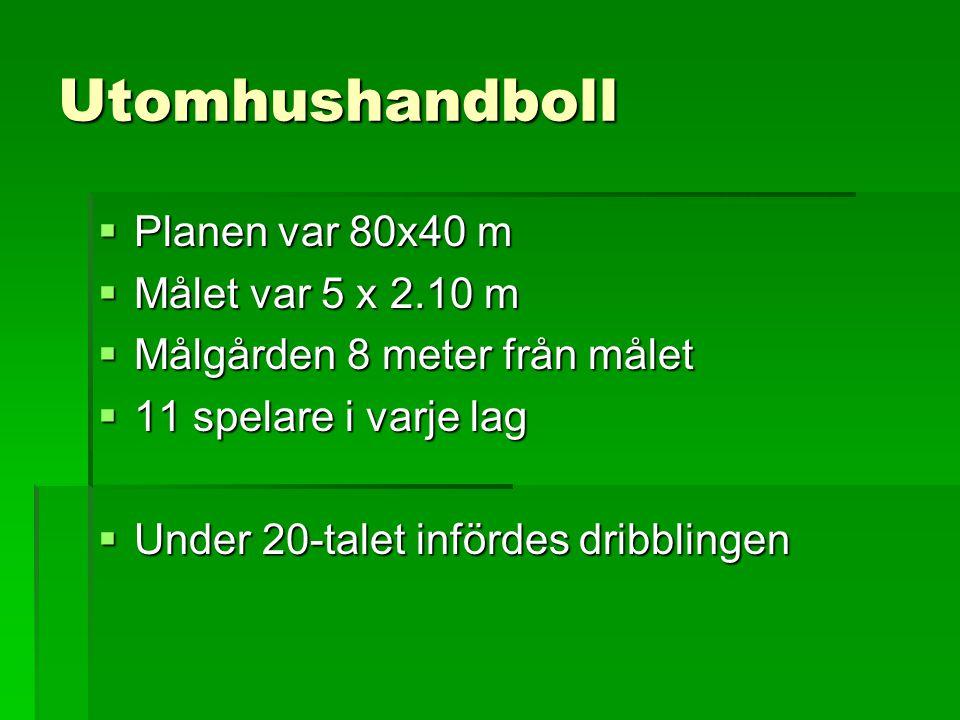Utomhushandboll  Planen var 80x40 m  Målet var 5 x 2.10 m  Målgården 8 meter från målet  11 spelare i varje lag  Under 20-talet infördes dribblin