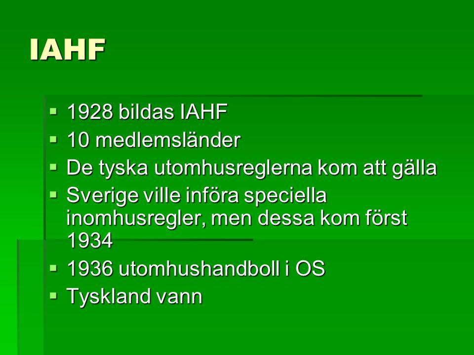 IAHF  1928 bildas IAHF  10 medlemsländer  De tyska utomhusreglerna kom att gälla  Sverige ville införa speciella inomhusregler, men dessa kom förs