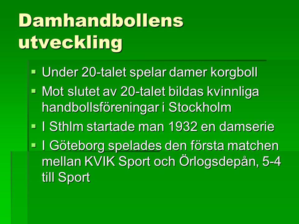 Damhandbollens utveckling  Under 20-talet spelar damer korgboll  Mot slutet av 20-talet bildas kvinnliga handbollsföreningar i Stockholm  I Sthlm s