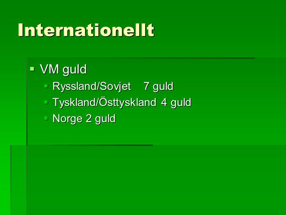 Internationellt  VM guld  Ryssland/Sovjet7 guld  Tyskland/Östtyskland 4 guld  Norge 2 guld