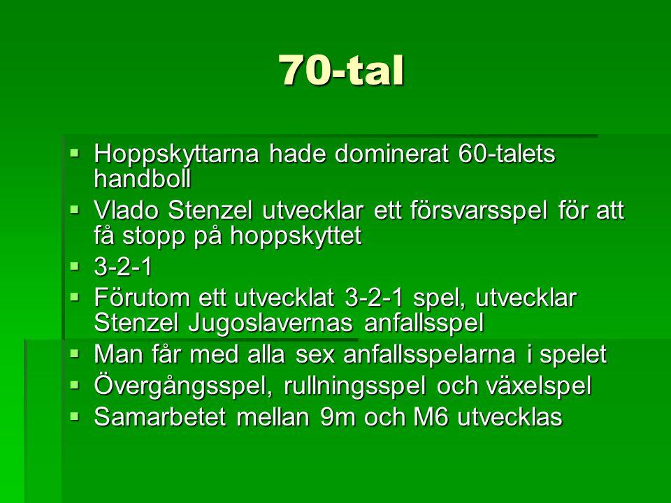 70-tal  Hoppskyttarna hade dominerat 60-talets handboll  Vlado Stenzel utvecklar ett försvarsspel för att få stopp på hoppskyttet  3-2-1  Förutom