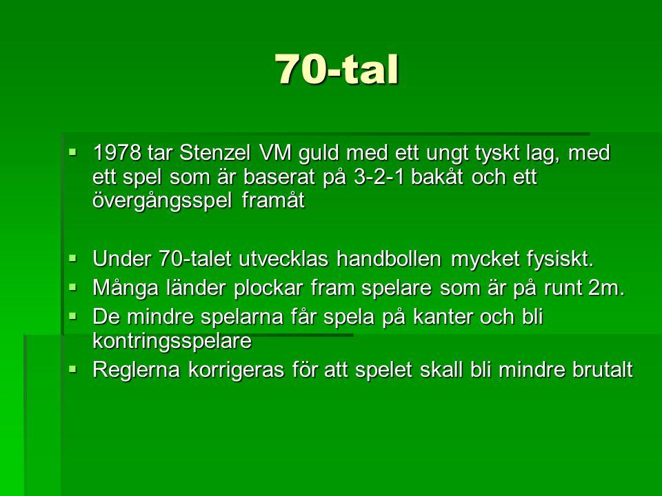 70-tal  1978 tar Stenzel VM guld med ett ungt tyskt lag, med ett spel som är baserat på 3-2-1 bakåt och ett övergångsspel framåt  Under 70-talet utv