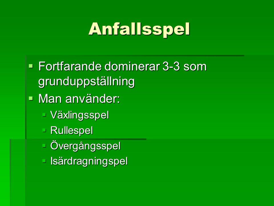 Anfallsspel  Fortfarande dominerar 3-3 som grunduppställning  Man använder:  Växlingsspel  Rullespel  Övergångsspel  Isärdragningspel