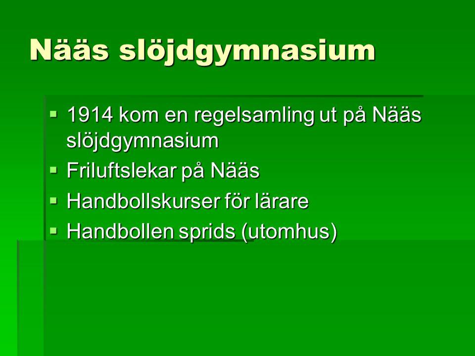 Nääs slöjdgymnasium  1914 kom en regelsamling ut på Nääs slöjdgymnasium  Friluftslekar på Nääs  Handbollskurser för lärare  Handbollen sprids (uto