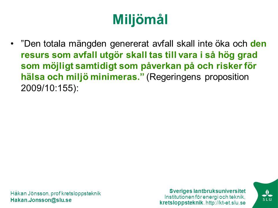 Sveriges lantbruksuniversitet Institutionen för energi och teknik, kretsloppsteknik. http://kt-et.slu.se Håkan Jönsson, prof kretsloppsteknik Hakan.Jo
