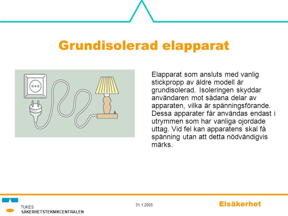TUKES SÄKERHETSTEKNIKCENTRALEN 31.1.2005 Elsäkerhet Grundisolerad elapparat Elapparat som ansluts med vanlig stickpropp av äldre modell är grundisoler