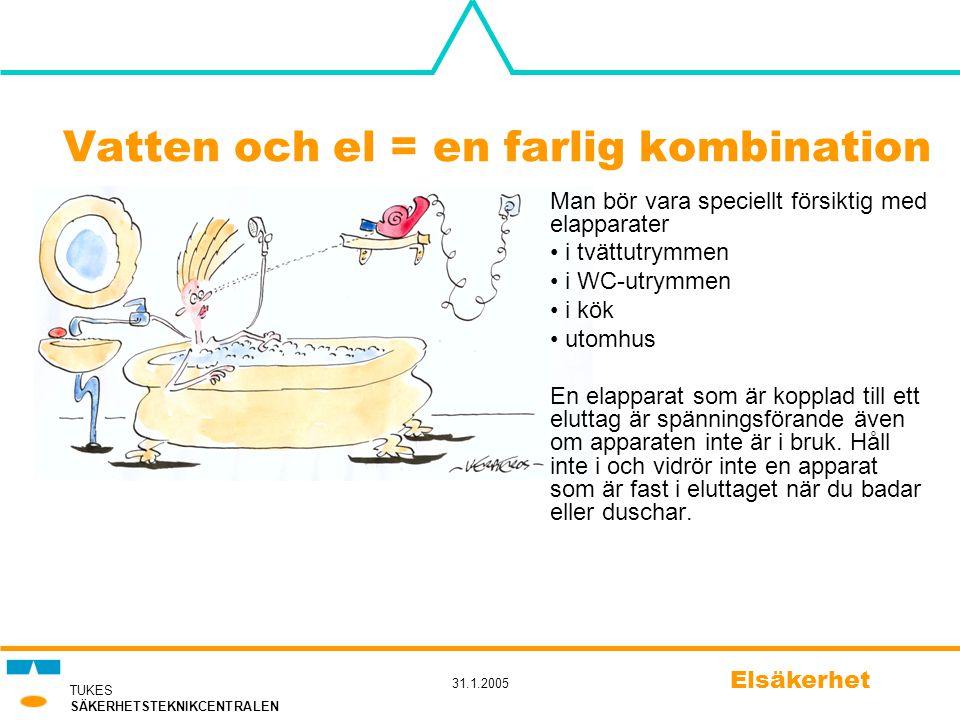 TUKES SÄKERHETSTEKNIKCENTRALEN 31.1.2005 Elsäkerhet Vatten och el = en farlig kombination Man bör vara speciellt försiktig med elapparater • i tvättut