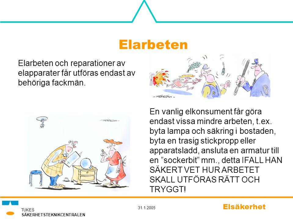 TUKES SÄKERHETSTEKNIKCENTRALEN 31.1.2005 Elsäkerhet Elarbeten Elarbeten och reparationer av elapparater får utföras endast av behöriga fackmän. En van