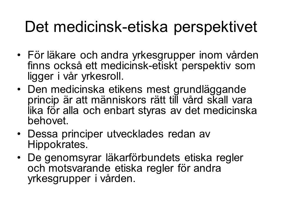 Det medicinsk-etiska perspektivet •För läkare och andra yrkesgrupper inom vården finns också ett medicinsk-etiskt perspektiv som ligger i vår yrkesrol