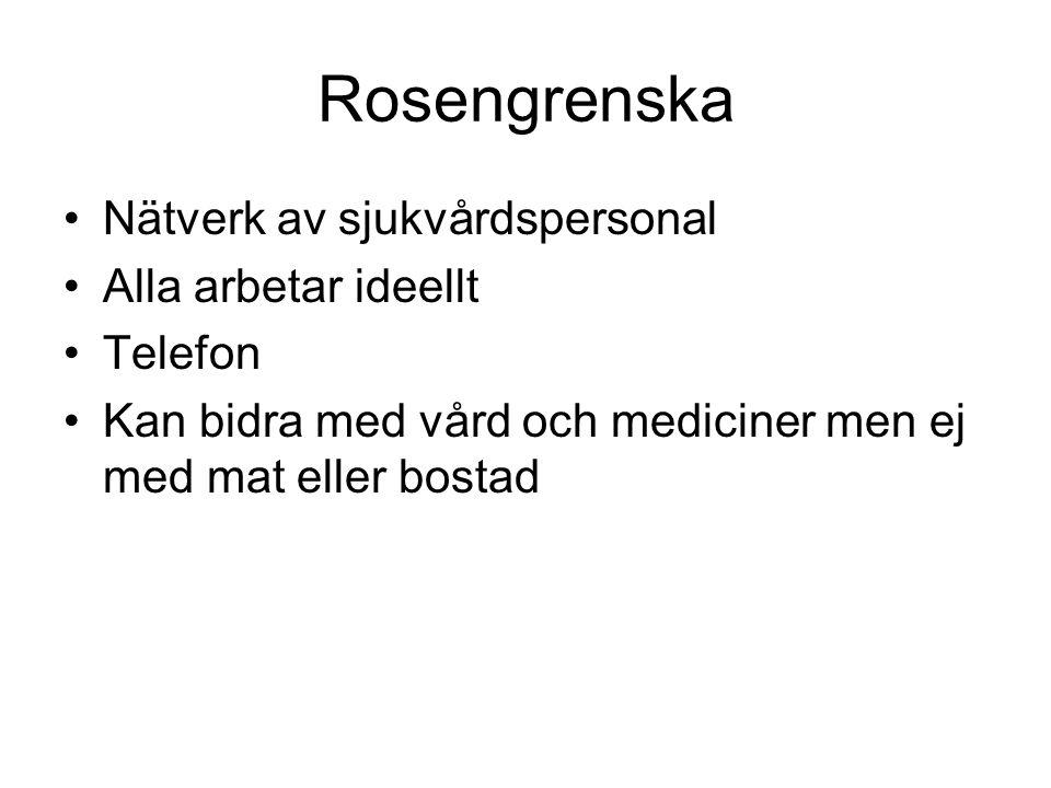 Rosengrenska •Nätverk av sjukvårdspersonal •Alla arbetar ideellt •Telefon •Kan bidra med vård och mediciner men ej med mat eller bostad