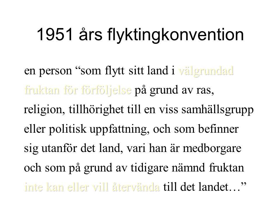 """1951 års flyktingkonvention välgrundad fruktan för förföljelse inte kan eller vill återvända en person """"som flytt sitt land i välgrundad fruktan för f"""