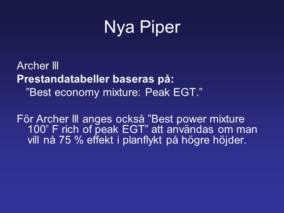 """Nya Piper Archer lll Prestandatabeller baseras på: """"Best economy mixture: Peak EGT."""" För Archer lll anges också """"Best power mixture 100 ̊ F rich of pe"""