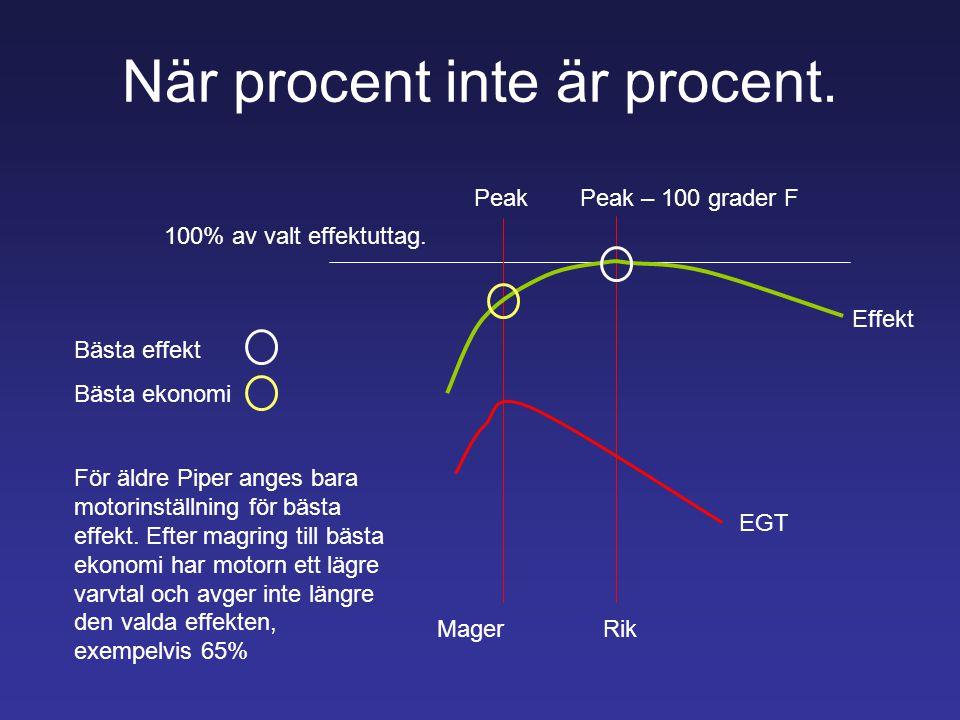 När procent inte är procent. PeakPeak – 100 grader F 100% av valt effektuttag. Effekt EGT MagerRik Bästa effekt Bästa ekonomi För äldre Piper anges ba