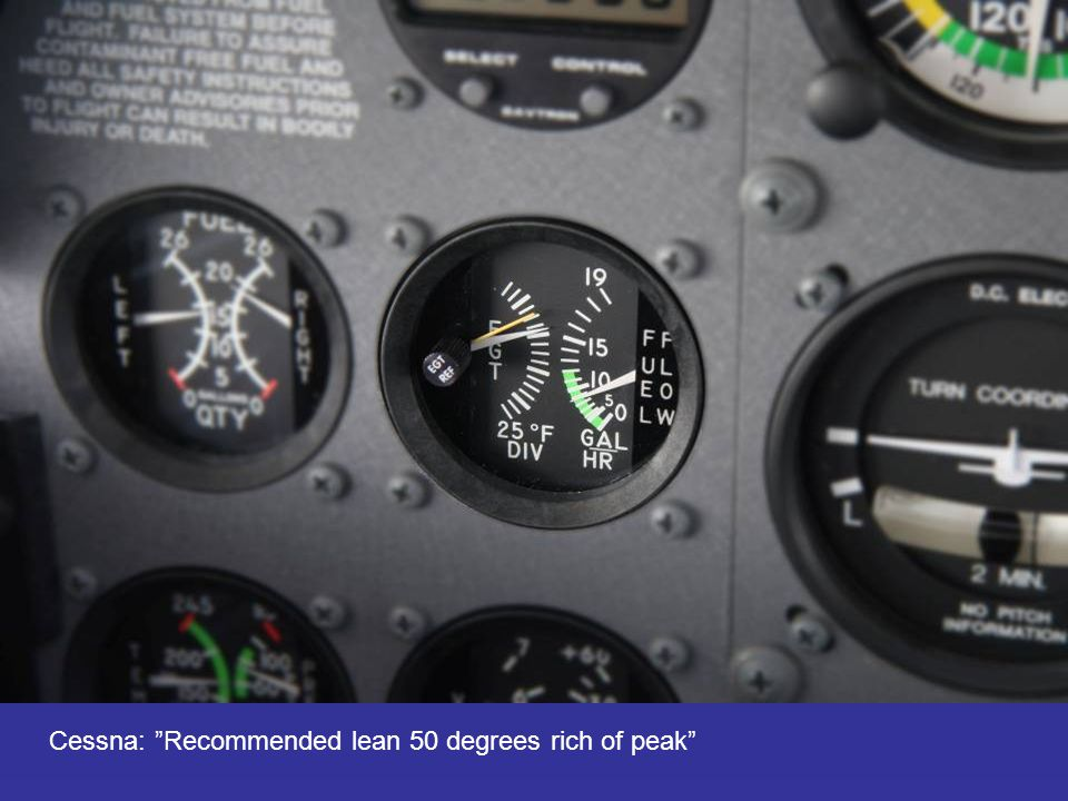 "Cessna: ""Recommended lean 50 degrees rich of peak"""