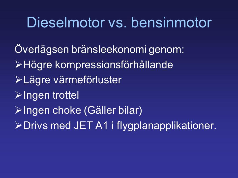 Dieselmotor vs. bensinmotor Överlägsen bränsleekonomi genom:  Högre kompressionsförhållande  Lägre värmeförluster  Ingen trottel  Ingen choke (Gäl